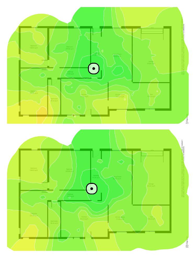 Netgear AX1800 Wi-Fi 6 Mesh Extender (EAX15) Mappa termica dell'intensità del segnale