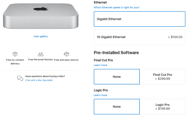 Nuova opzione di configurazione Ethernet per Mac mini.
