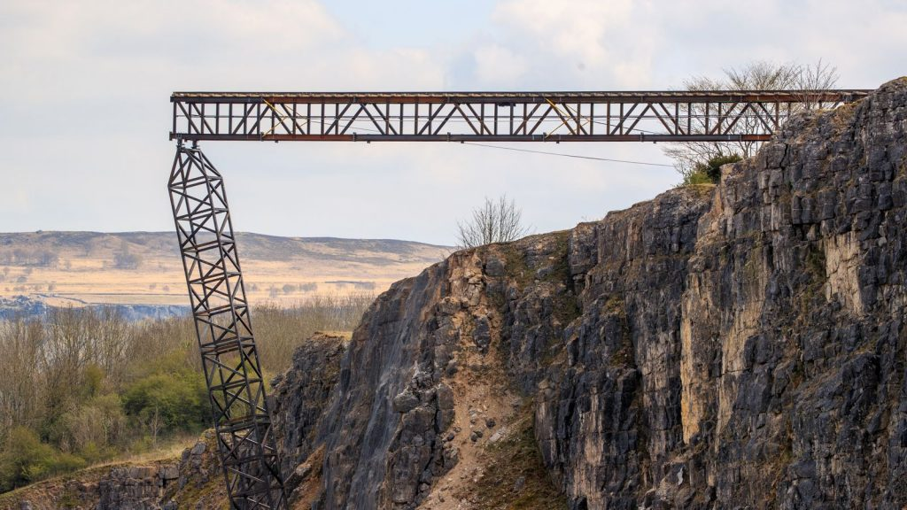 The quarry in Derbyshire with the trainline hanging over