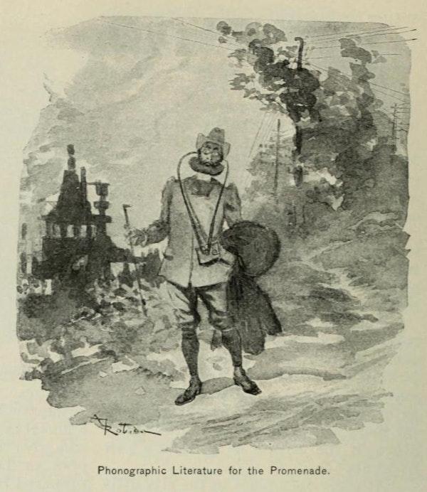 Un vecchio disegno in bianco e nero di un uomo con lunghi fili che si estendono dalle orecchie a un piccolo petto alla vita.
