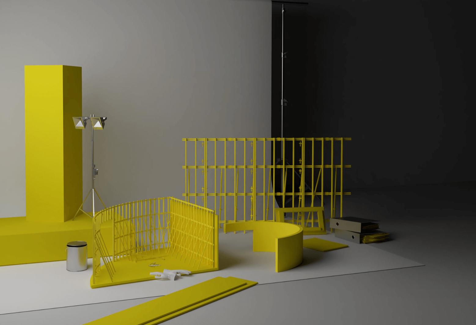 Screenshot di un ambiente digitale con cornici leggere, contenitori e sedute