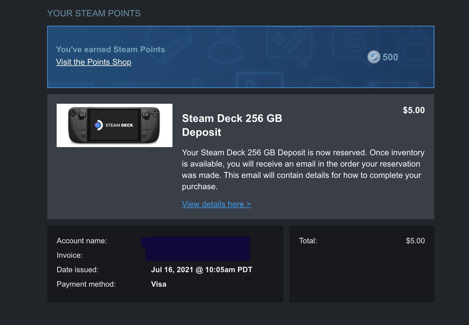 Conferma Steam dell'acquisto del mazzo Steam De