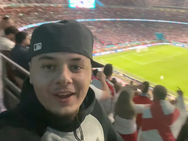 <p>Social media personality J2hundred in the stands at Wembley during England v Italy after sneaking in</p>