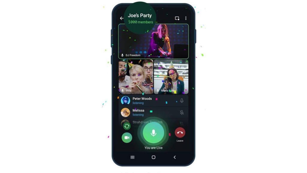 L'aggiornamento di Telegram consente a un massimo di 1.000 persone di partecipare a una videochiamata