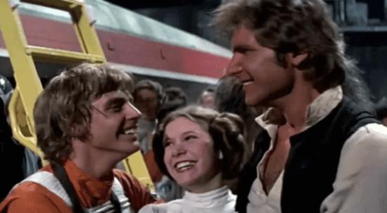 Star Wars Una nuova speranza Luke Leia e Han (da sinistra)