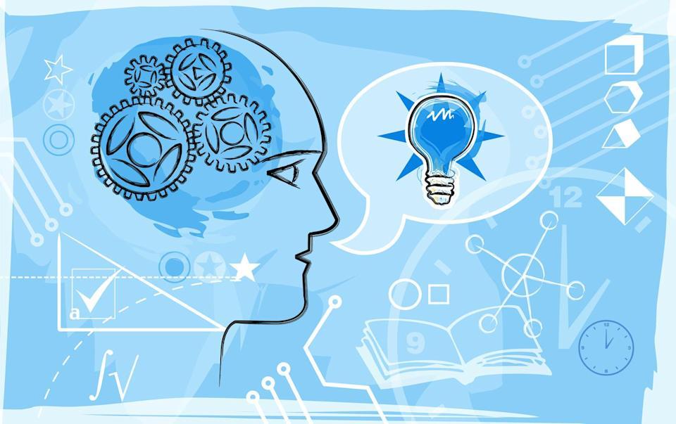 Montaggio illustrativo basato sull'educazione e la conoscenza in blu